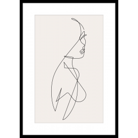 Stylized woman profile print