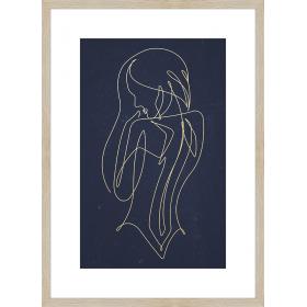 Stylized golden woman print