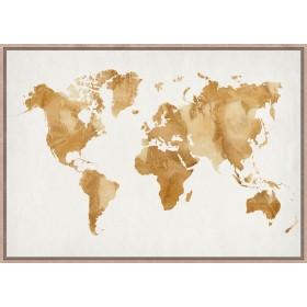 Golden world map print